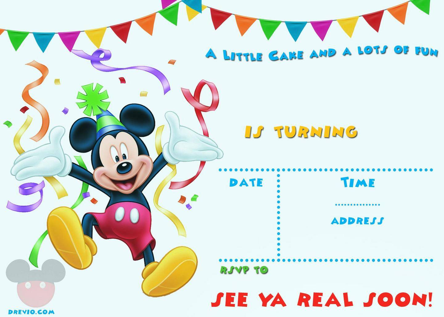 Mickey Mouse Birthday Invitations Template Free