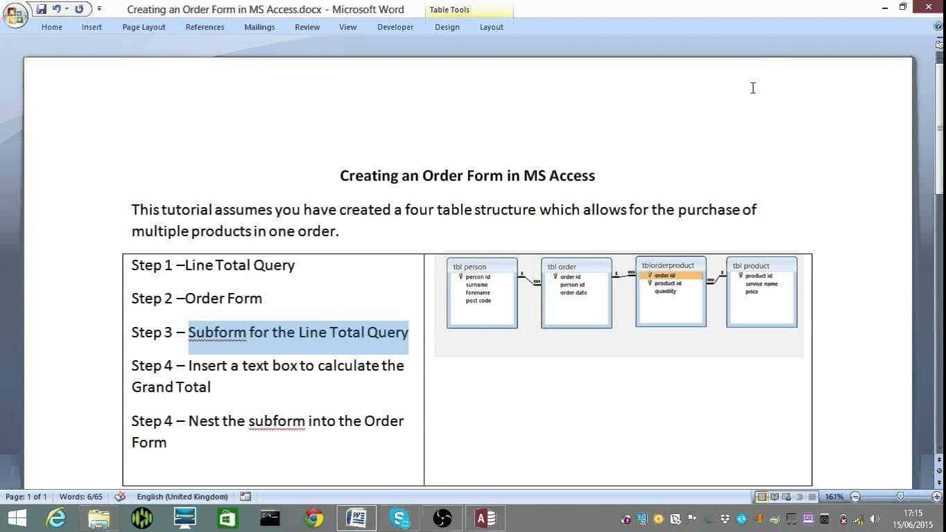 Microsoft Access 2010 Purchase Order Template