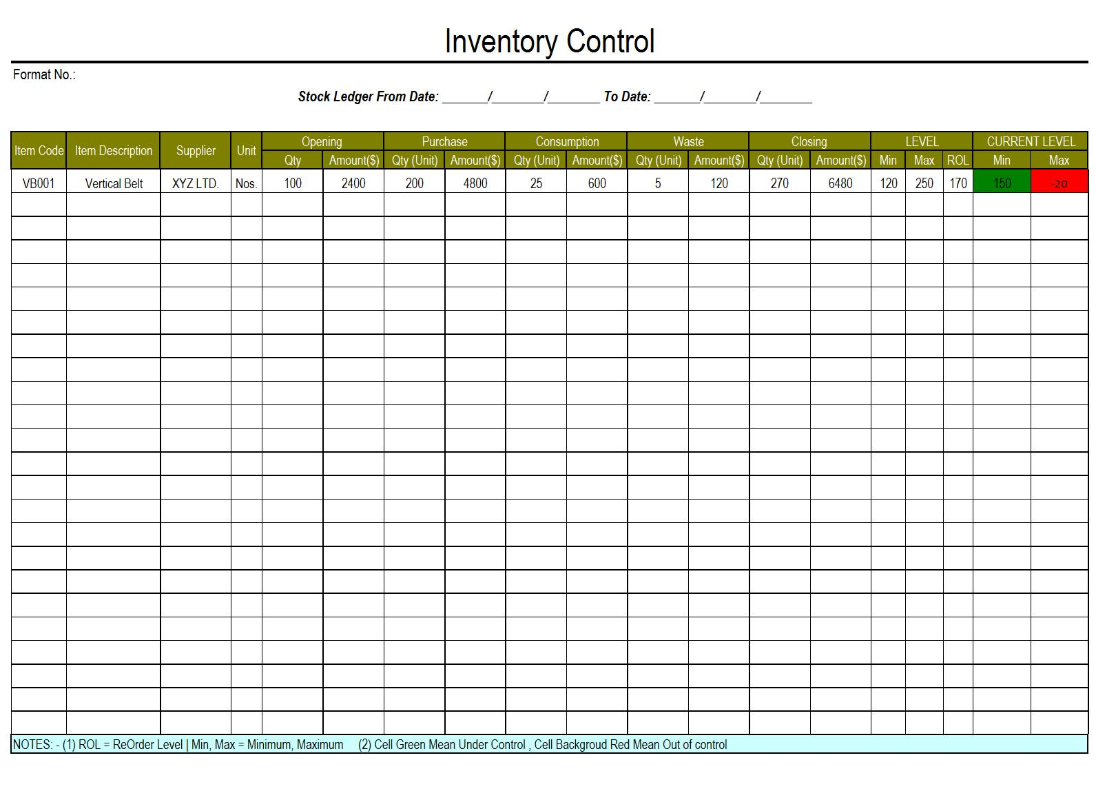 Microsoft Access Inventory Management Control Templates