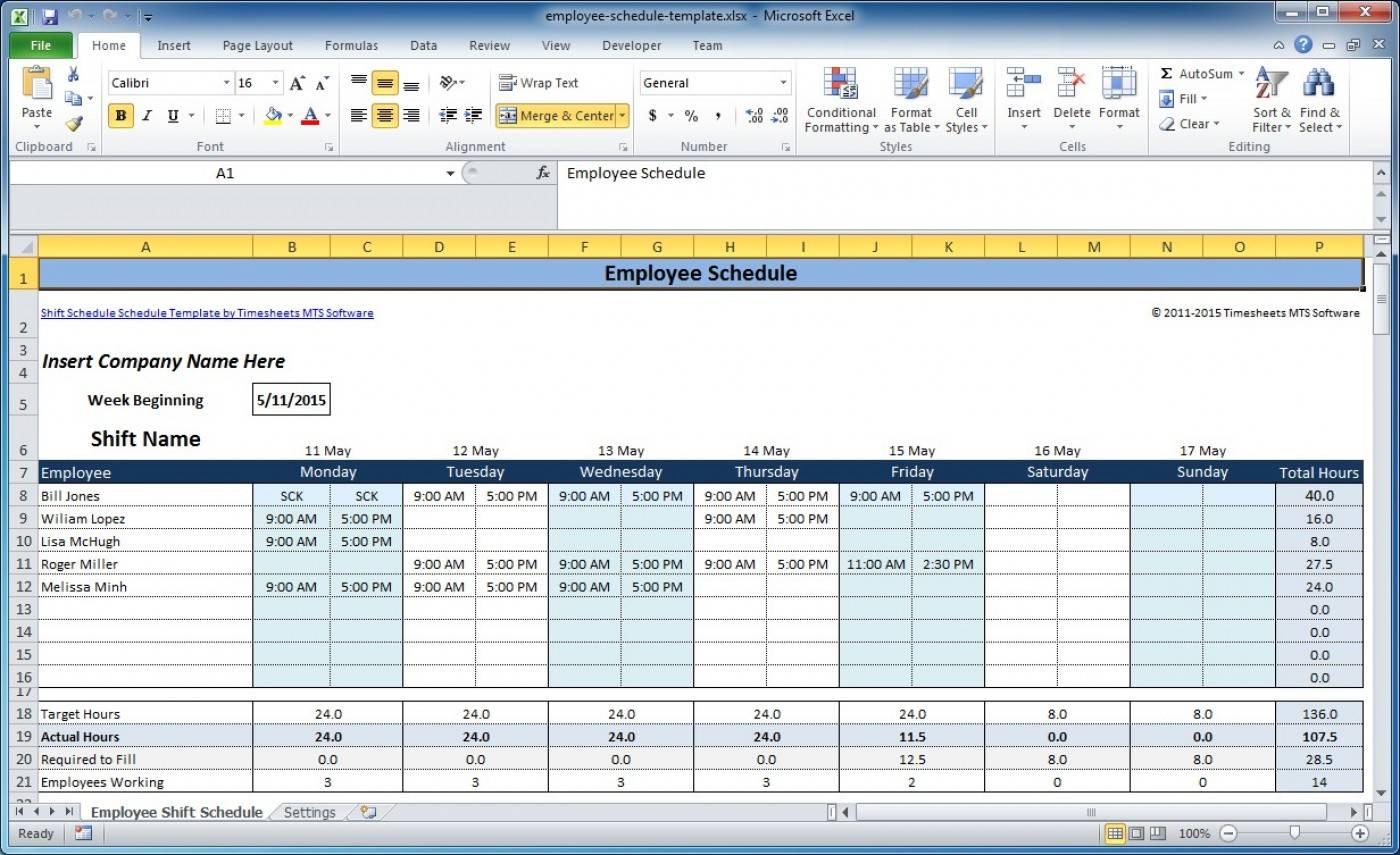 Microsoft Employee Shift Schedule Template