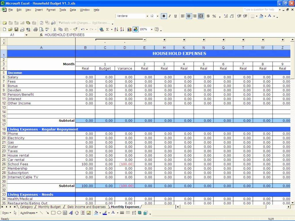 Microsoft Excel Budget Spreadsheet Template