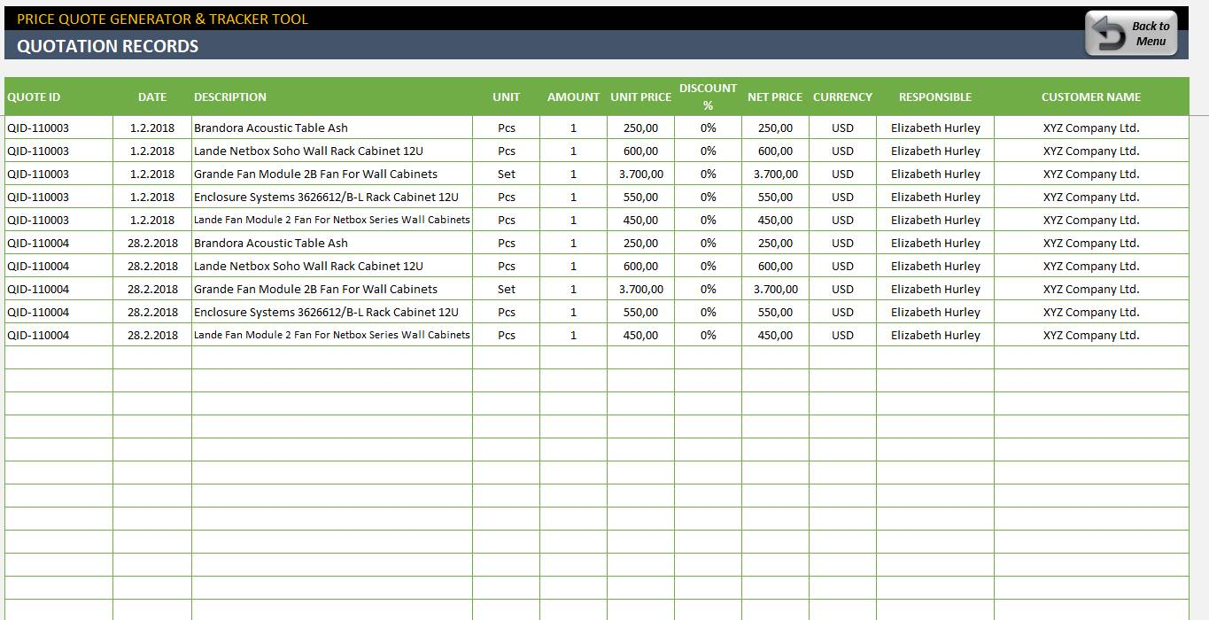 Microsoft Excel Client Database Template