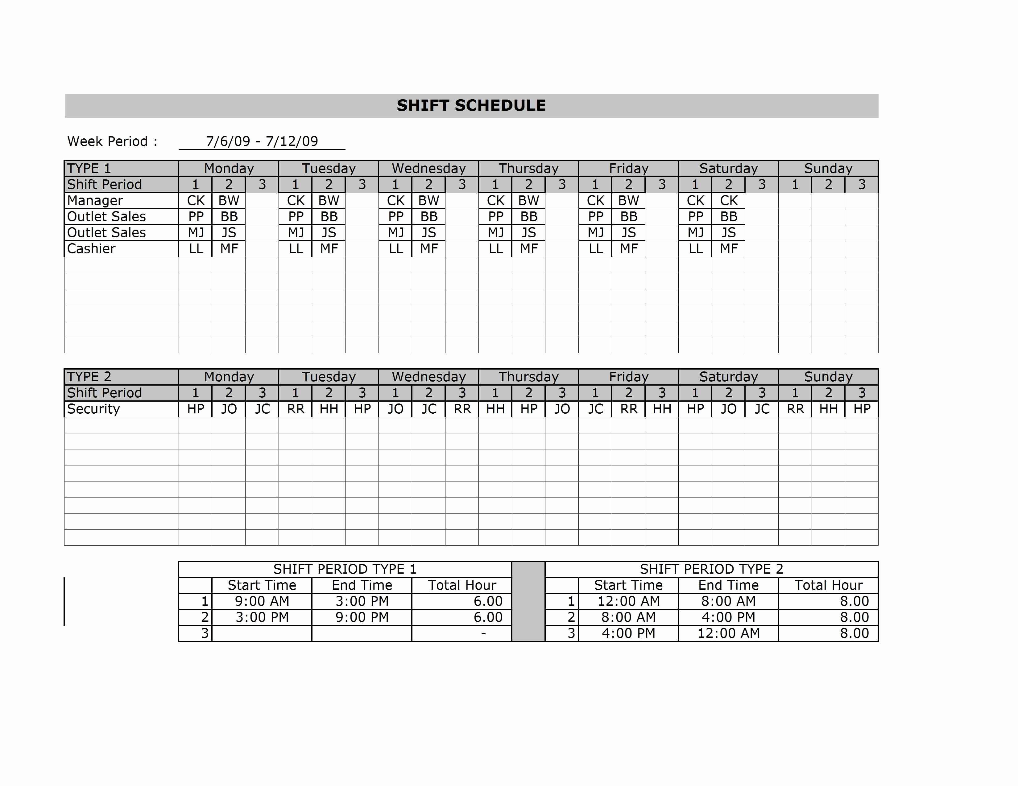 Microsoft Excel Employee Schedule Template