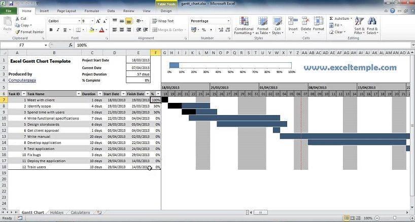 Microsoft Excel Templates Gantt Chart