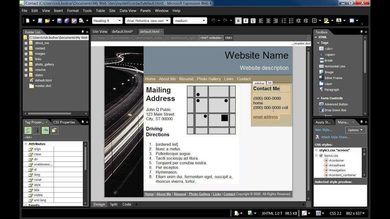 Microsoft Expression Web Mobile Templates