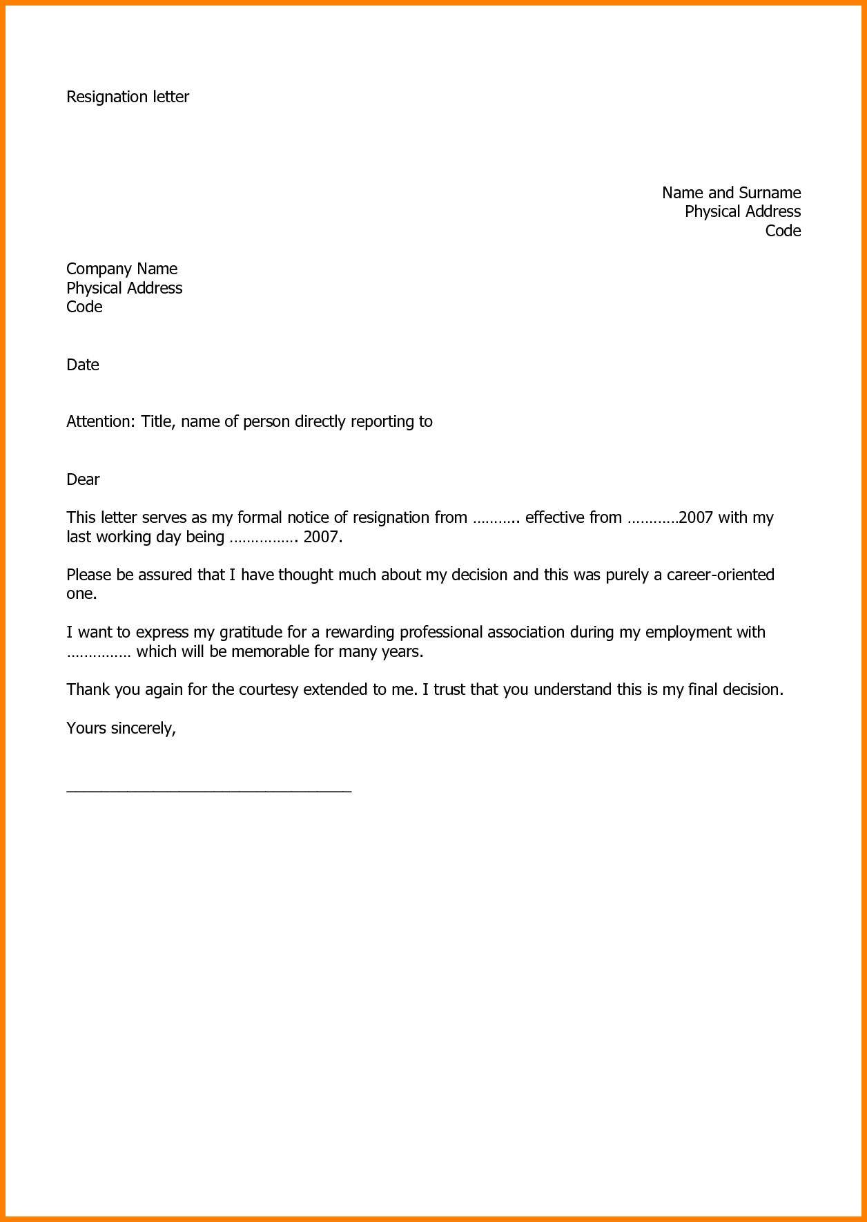 Microsoft Free Resignation Letter Template