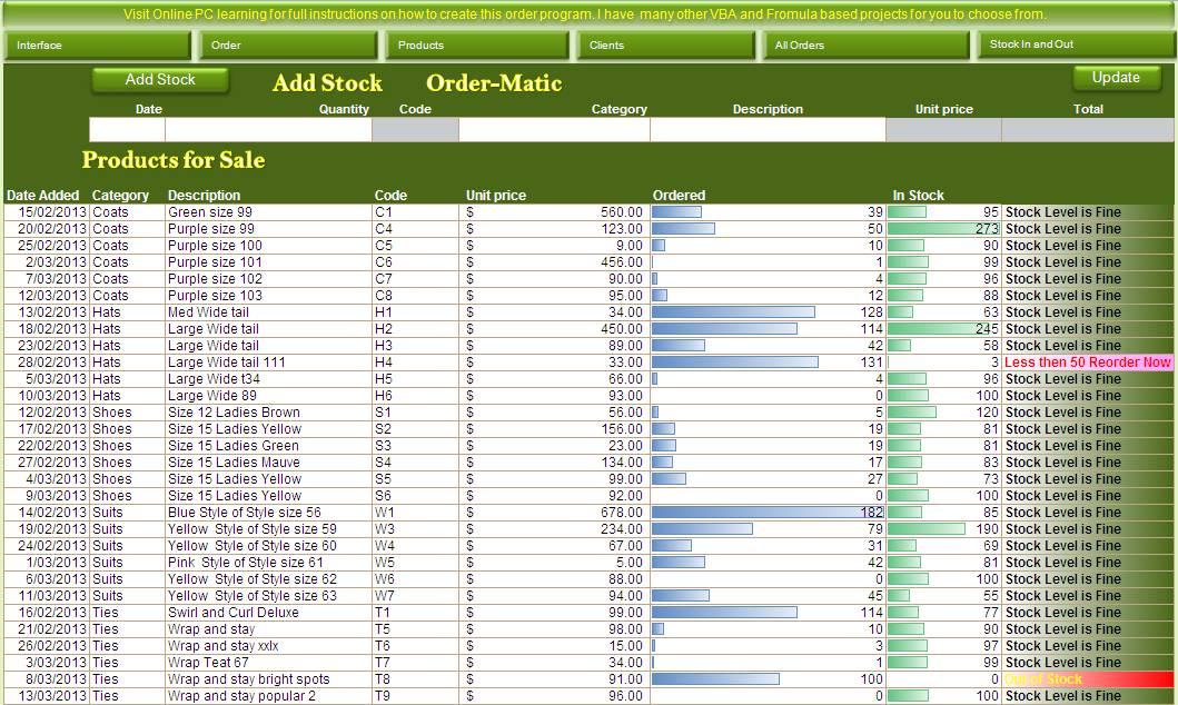 Microsoft Inventory Spreadsheet Template