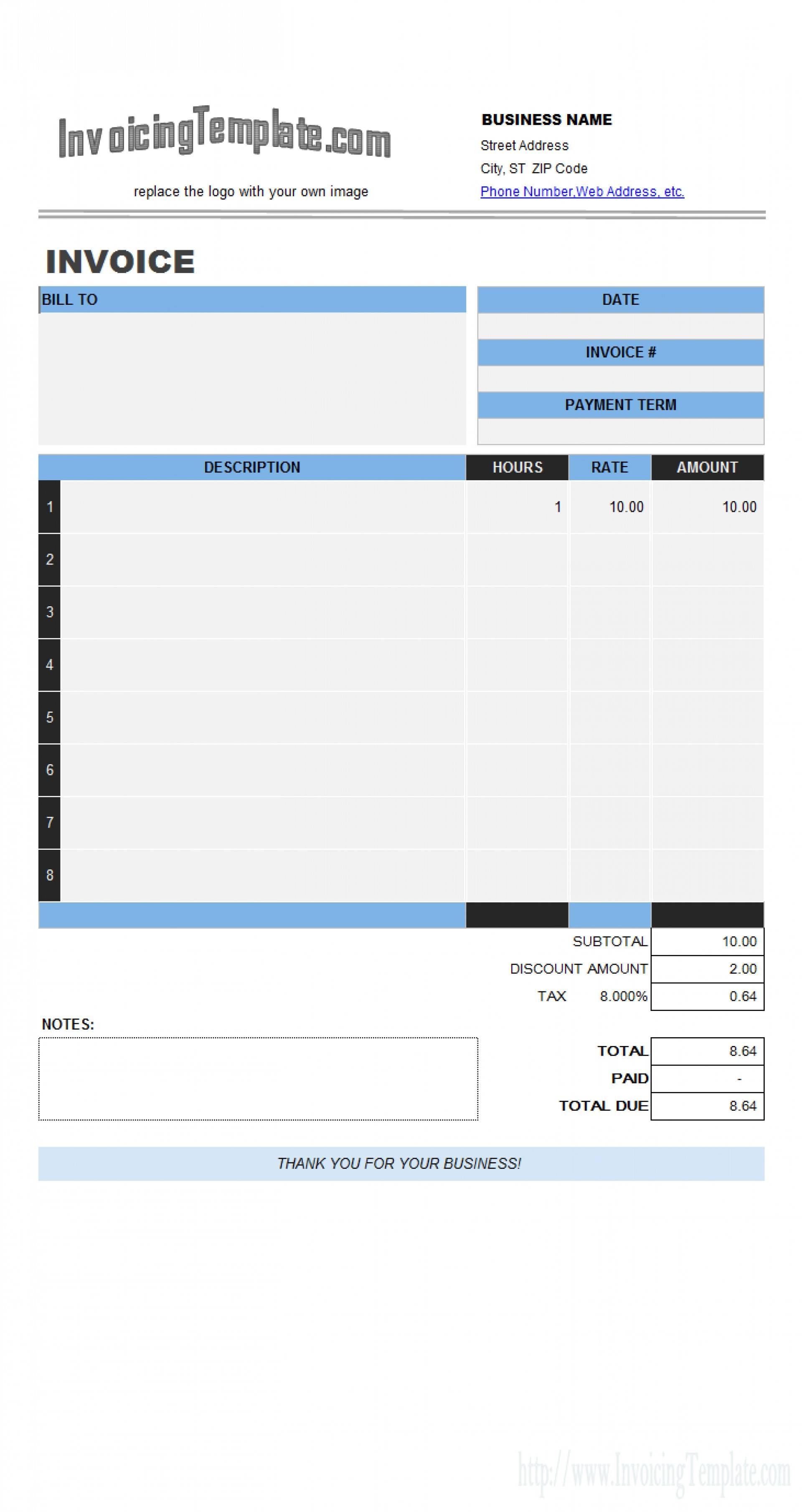 Microsoft Invoice Templates Free Excel