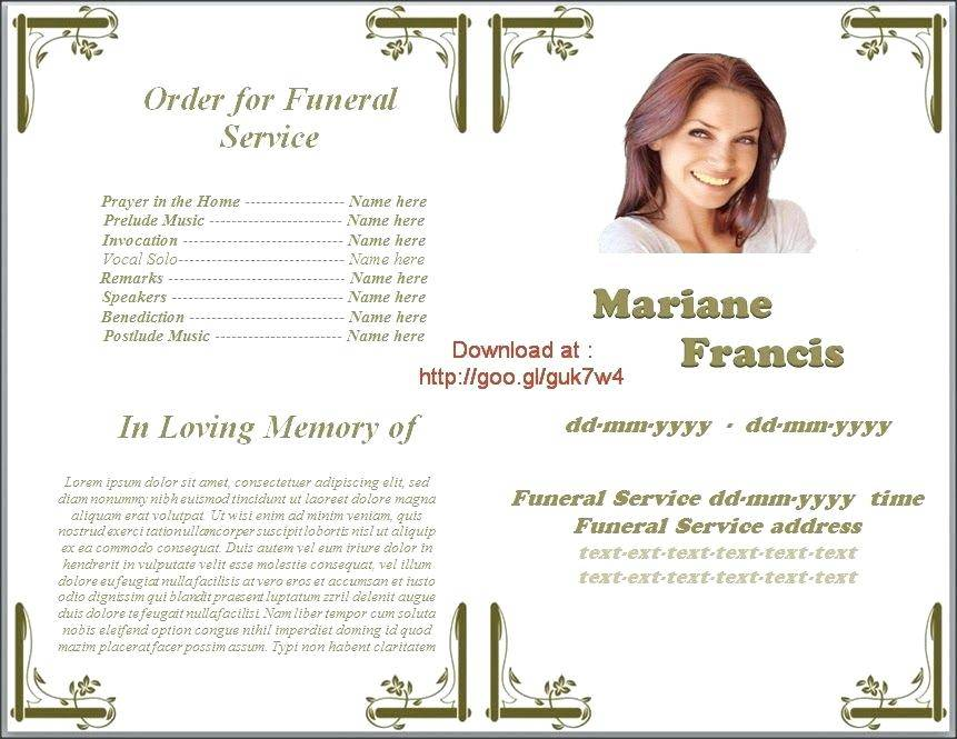 Microsoft Office Templates For Funeral Programs