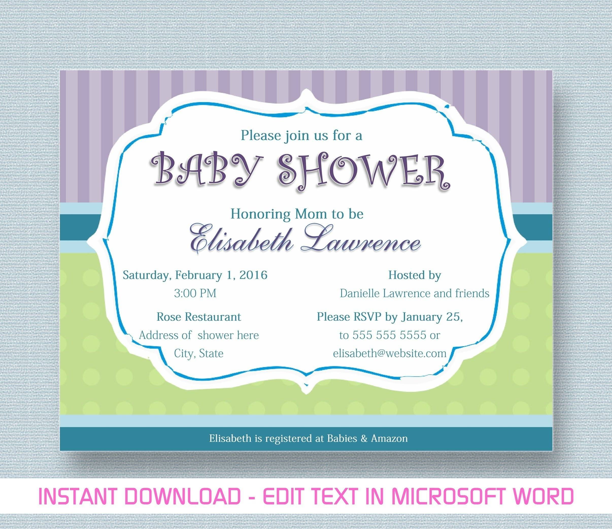 Microsoft Templates Baby Shower Invitation