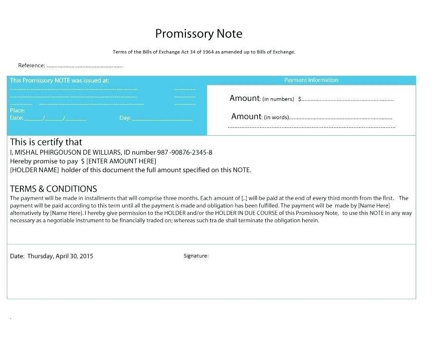 Microsoft Templates For Promissory Notes