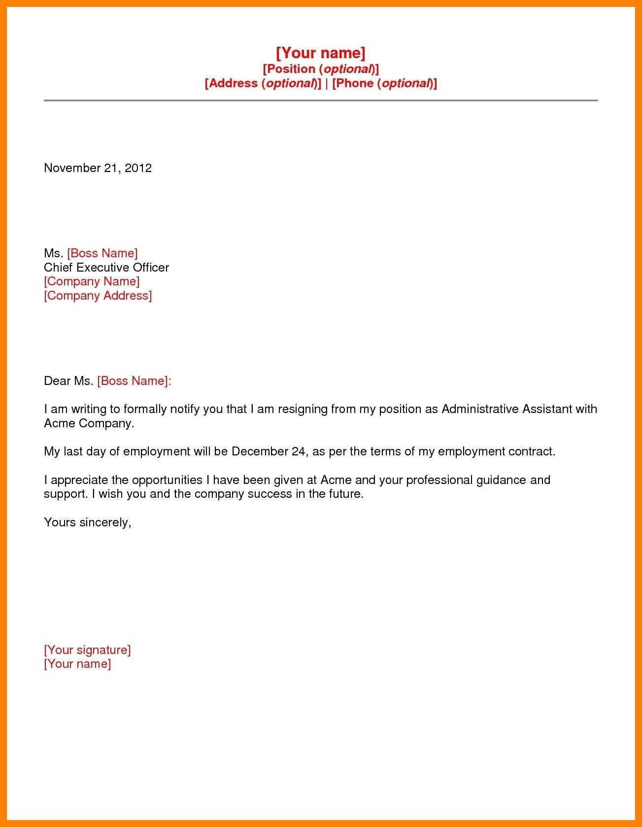 Microsoft Templates Resignation Letter