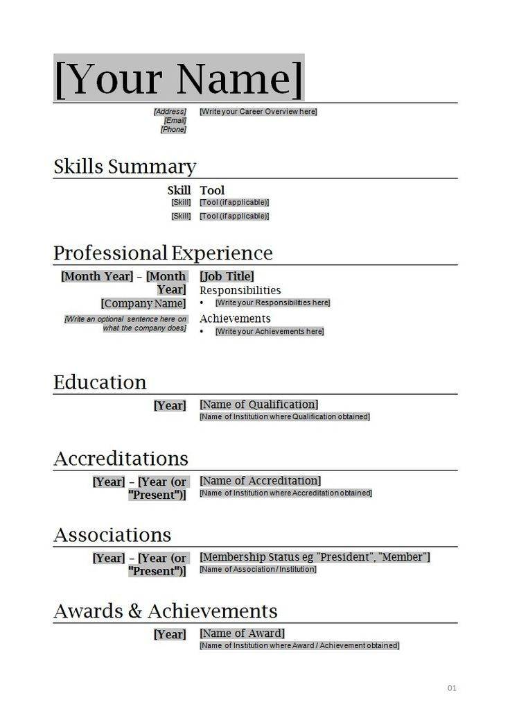 Microsoft Word 2010 Resume Templates Free Download