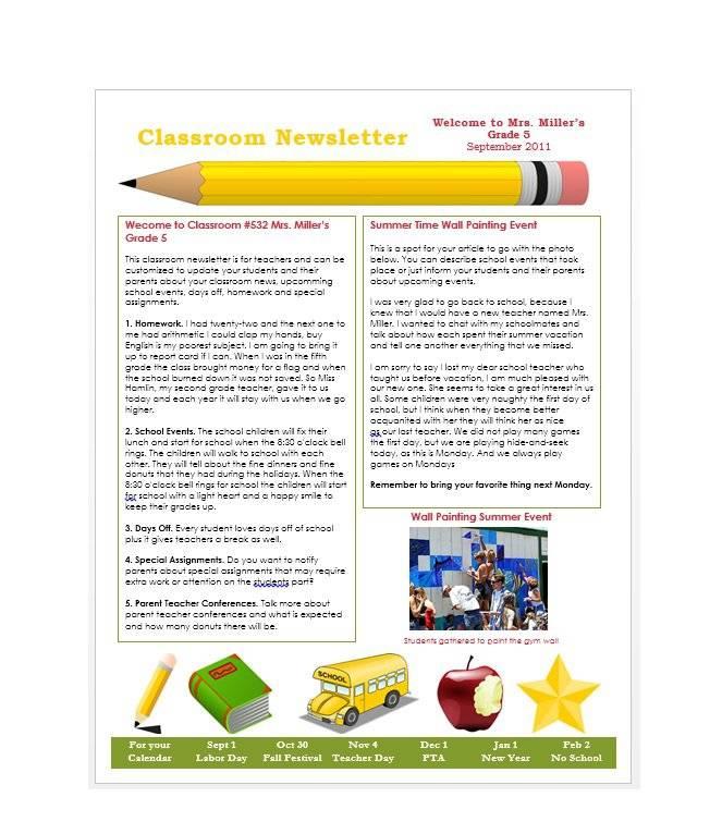 Microsoft Word Classroom Newsletter Templates Free
