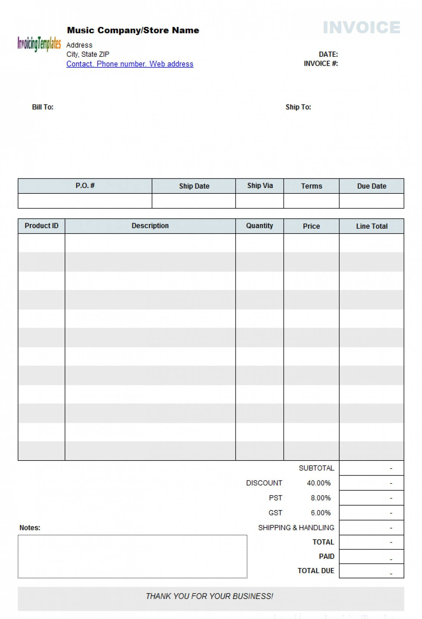Microsoft Word Invoice Templates For Mac