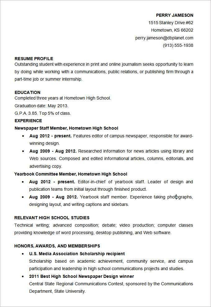 Microsoft Word Resume Template For Highschool Students