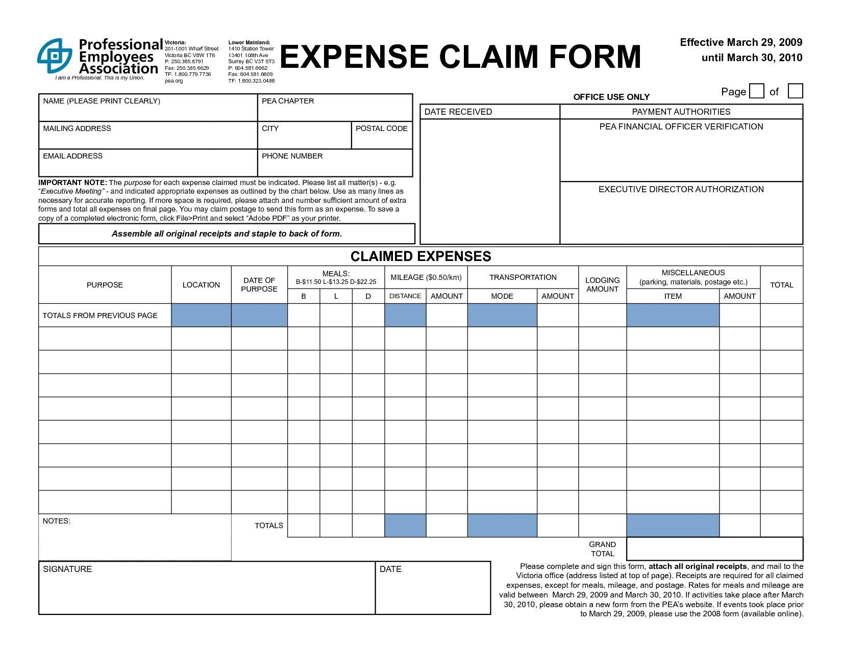 Mileage Expenses Form Template
