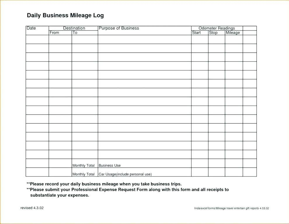 Mileage Log Book Template Excel