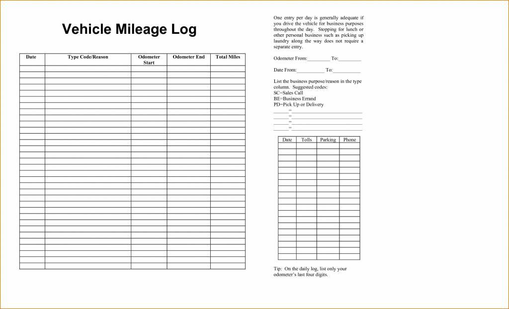 Mileage Log Book Template