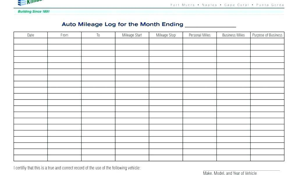 Mileage Log Template Canada