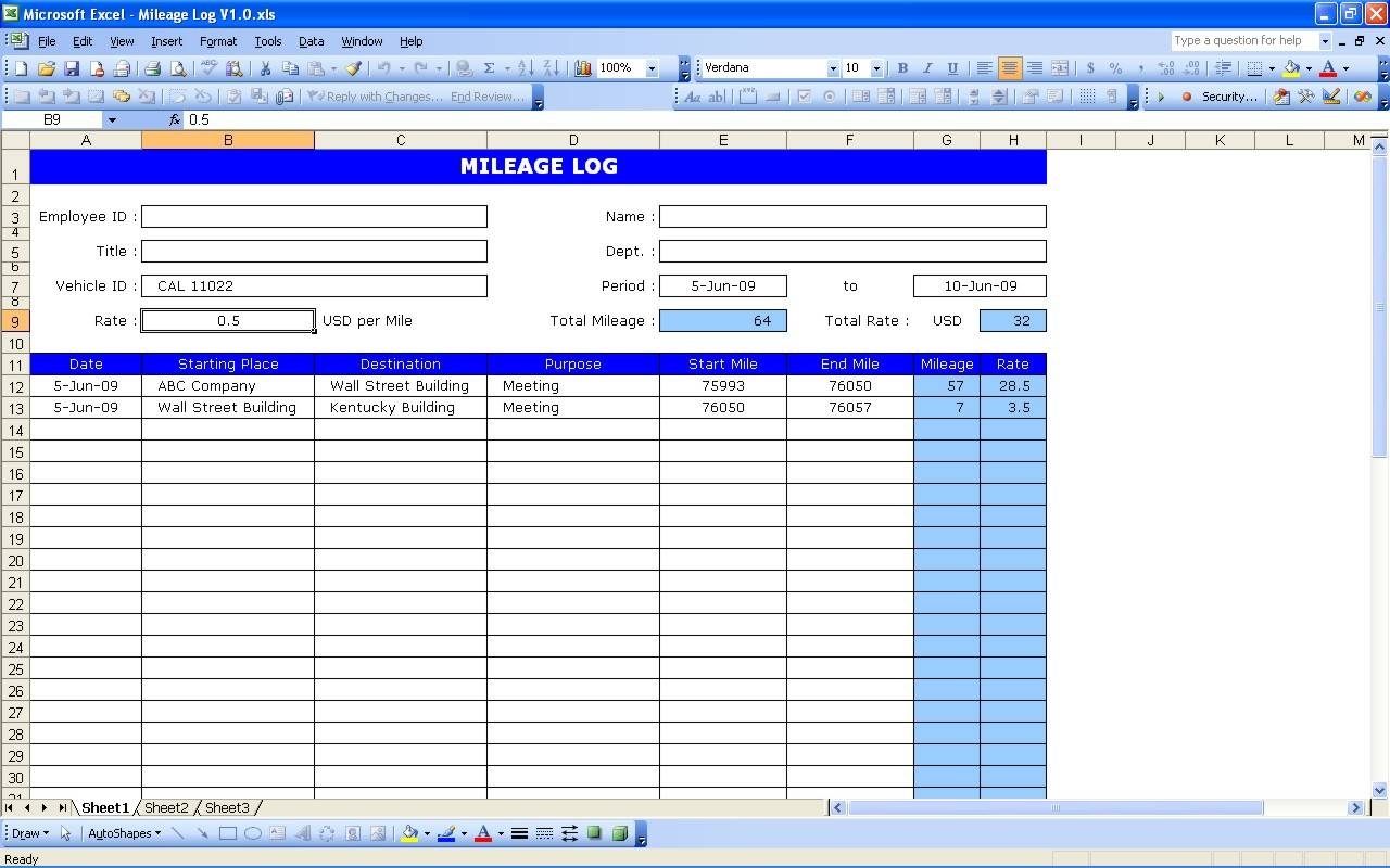 Mileage Log Template For Irs