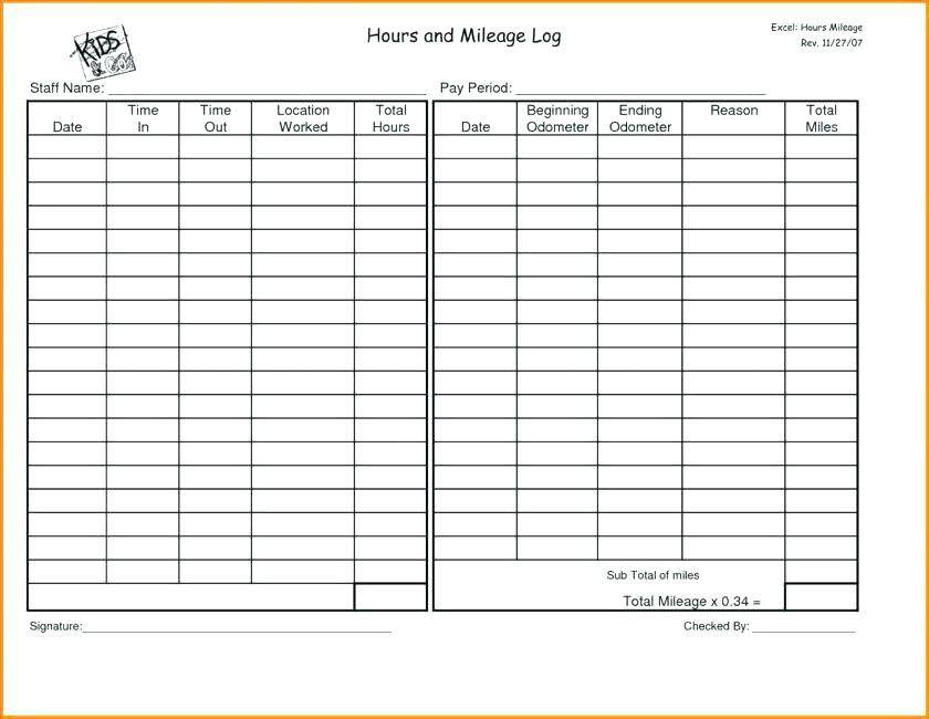 Mileage Log Template Google Sheets