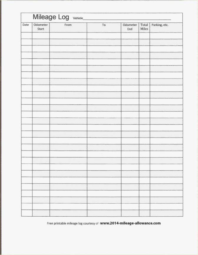 Mileage Log Template Irs