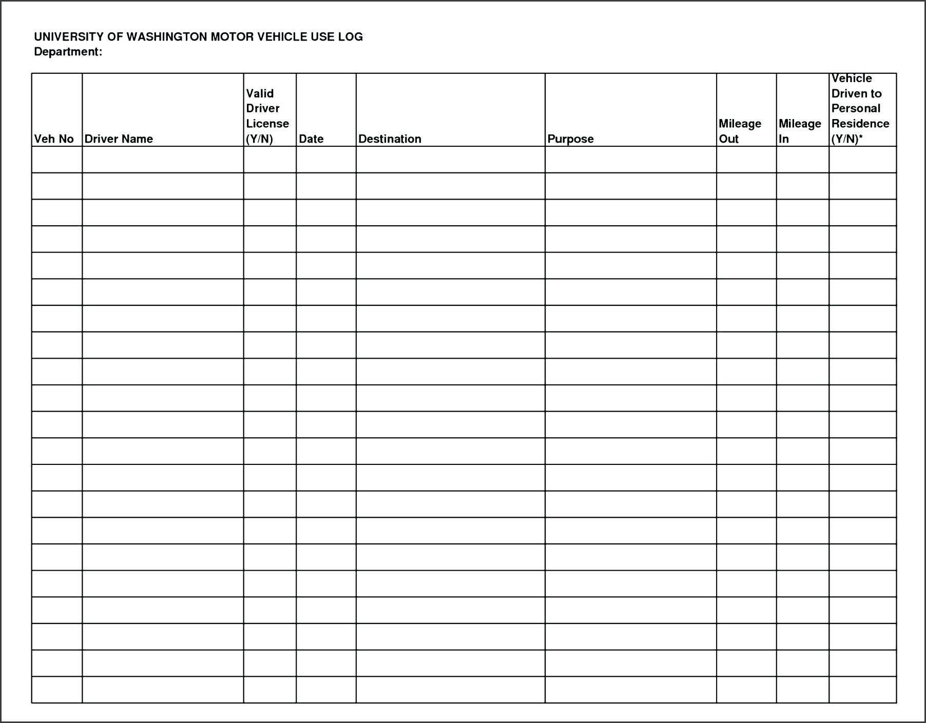 Mileage Log Template Open Office