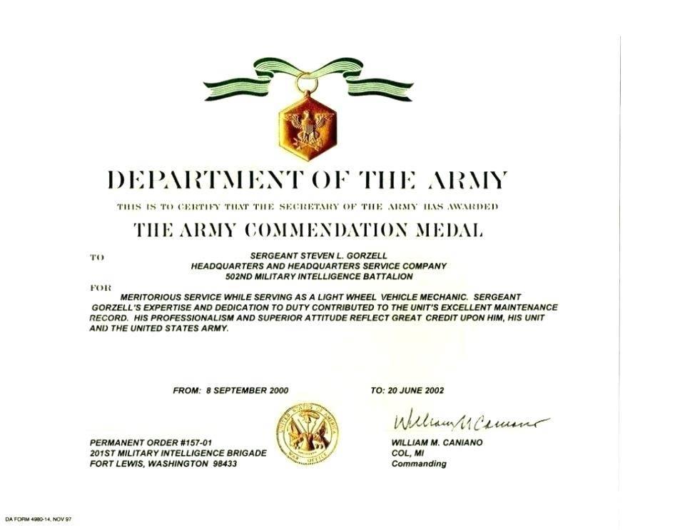 Military Certificates Of Appreciation Templates