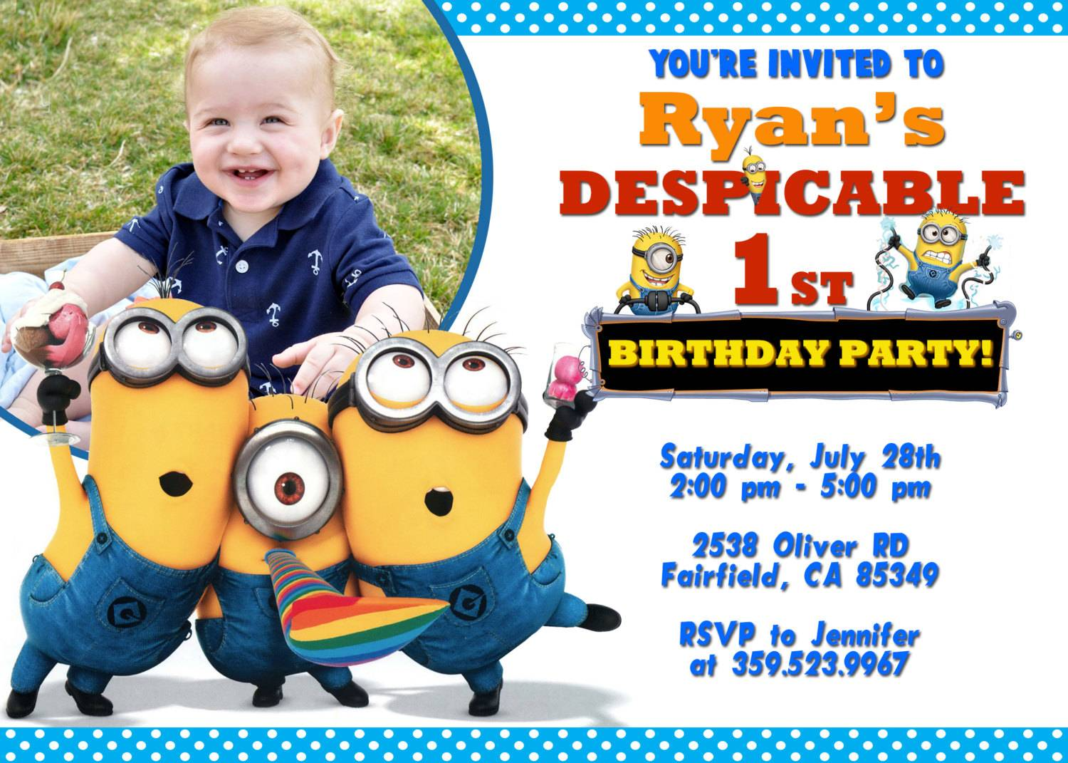 Minion Birthday Invitation Card Template