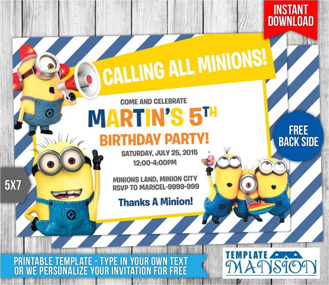 Minion Birthday Invitation Template Free