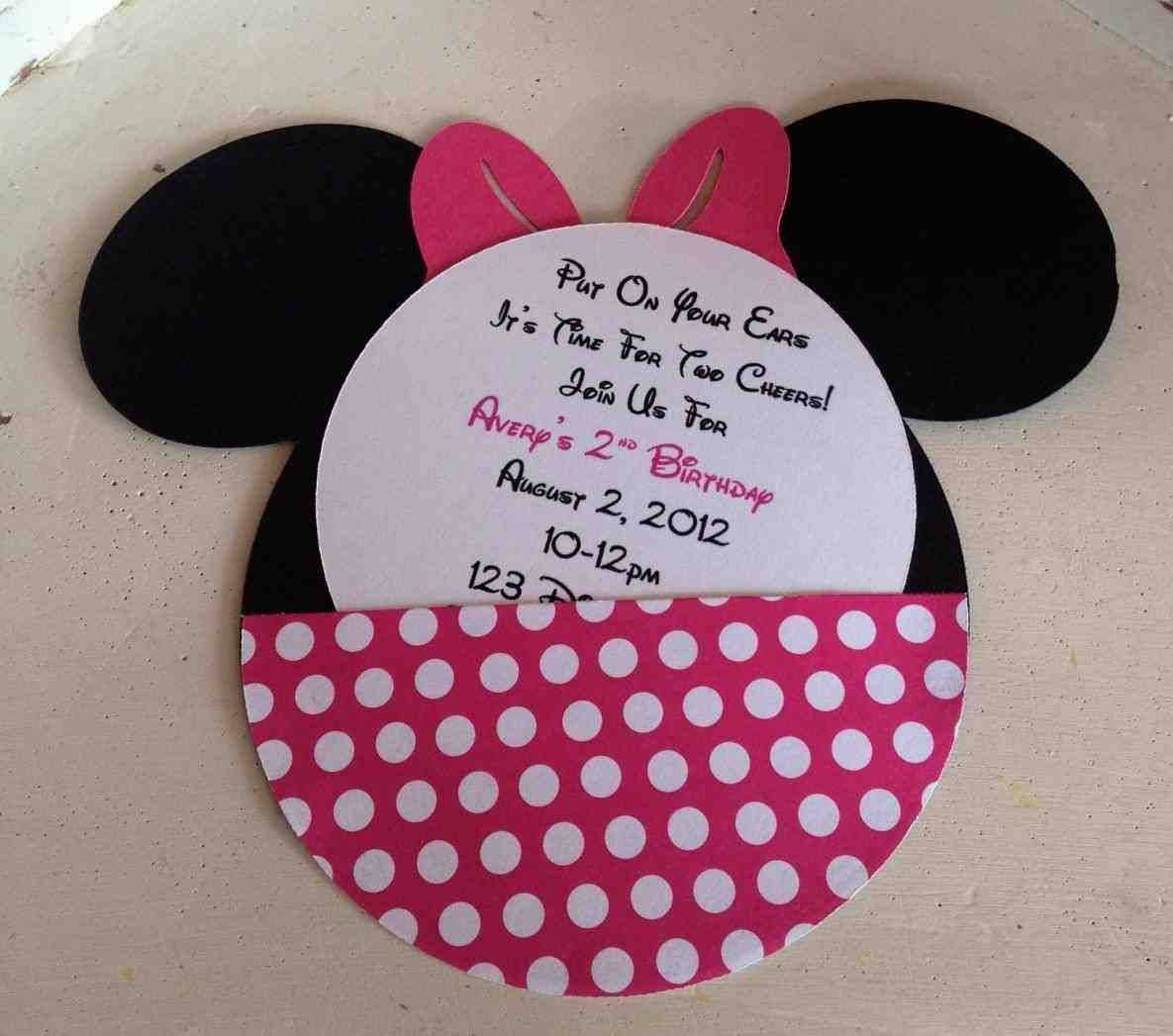 Minnie Mouse Birthday Invitation Card Template