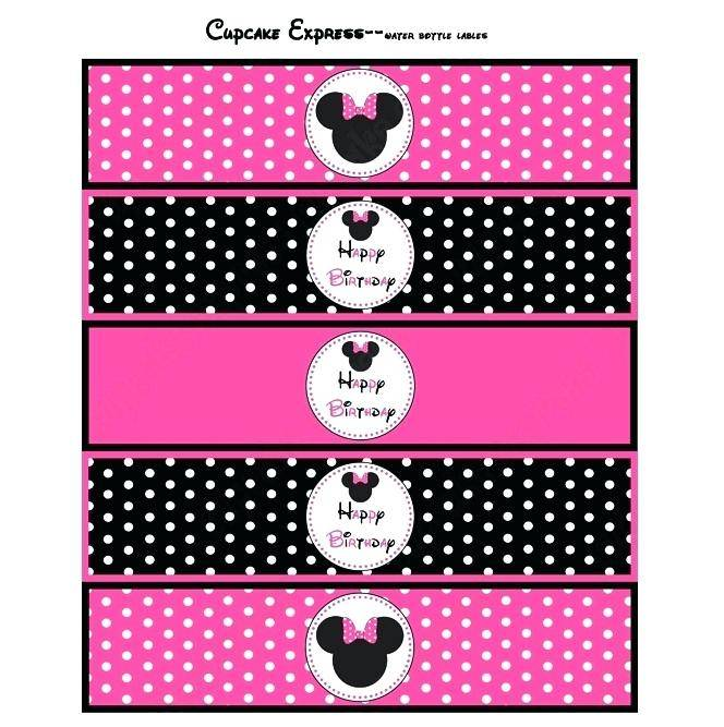 Minnie Mouse Water Bottle Labels Template