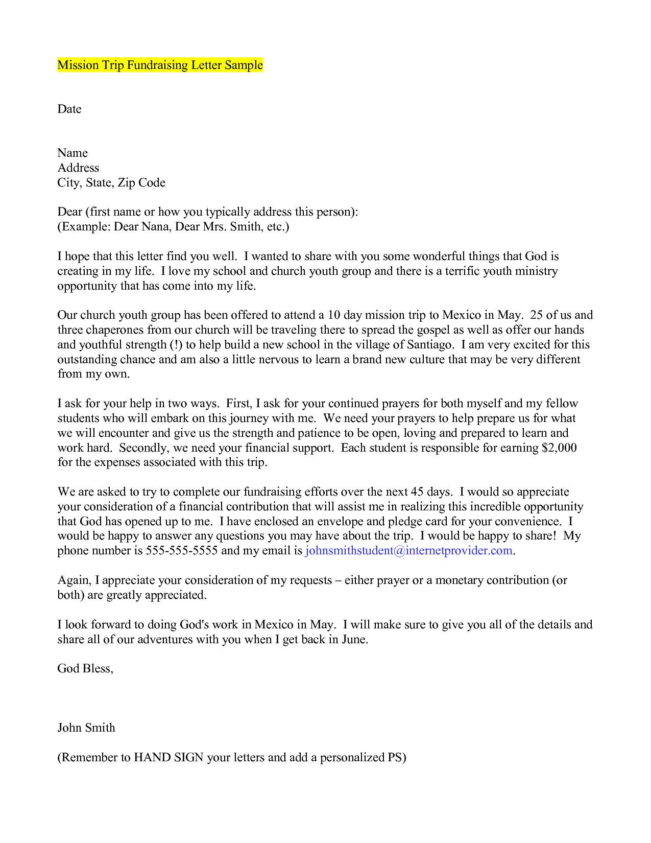 Mission Trip Fundraising Support Sample Letter