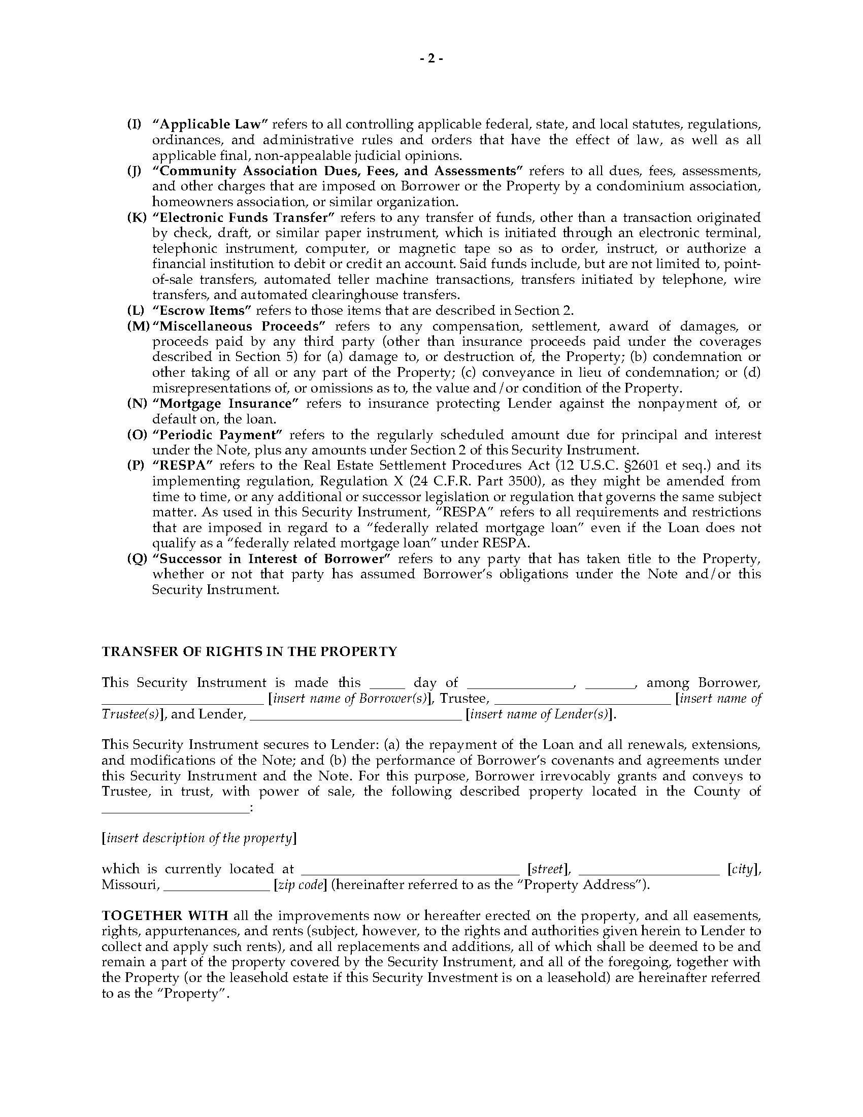 Missouri Deed Of Trust Template