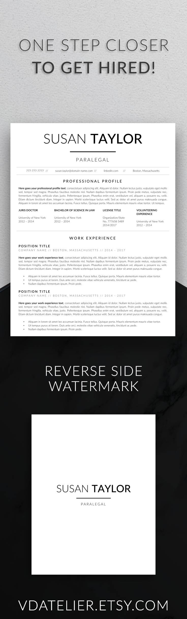 Modern Resume Template For Lawyers