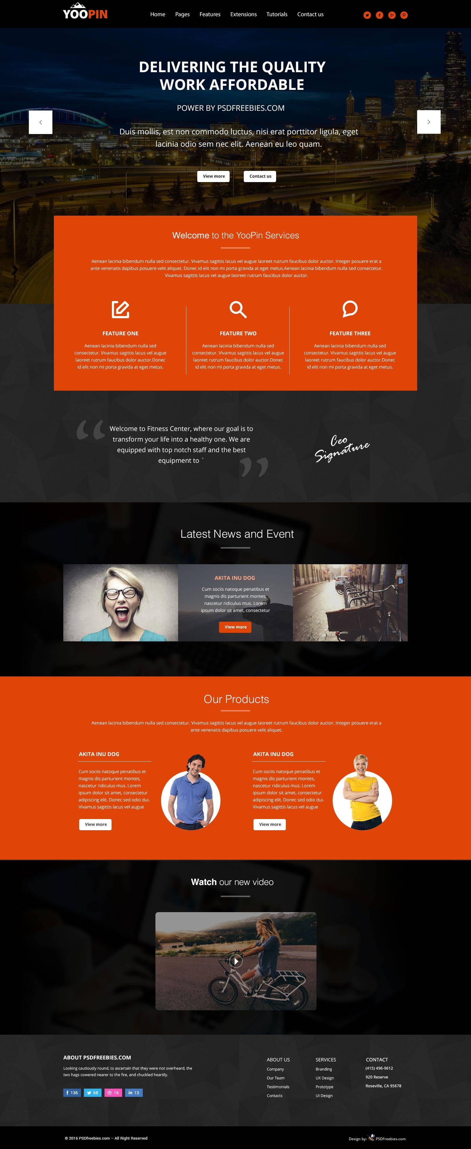 Modern Website Templates Free Psd
