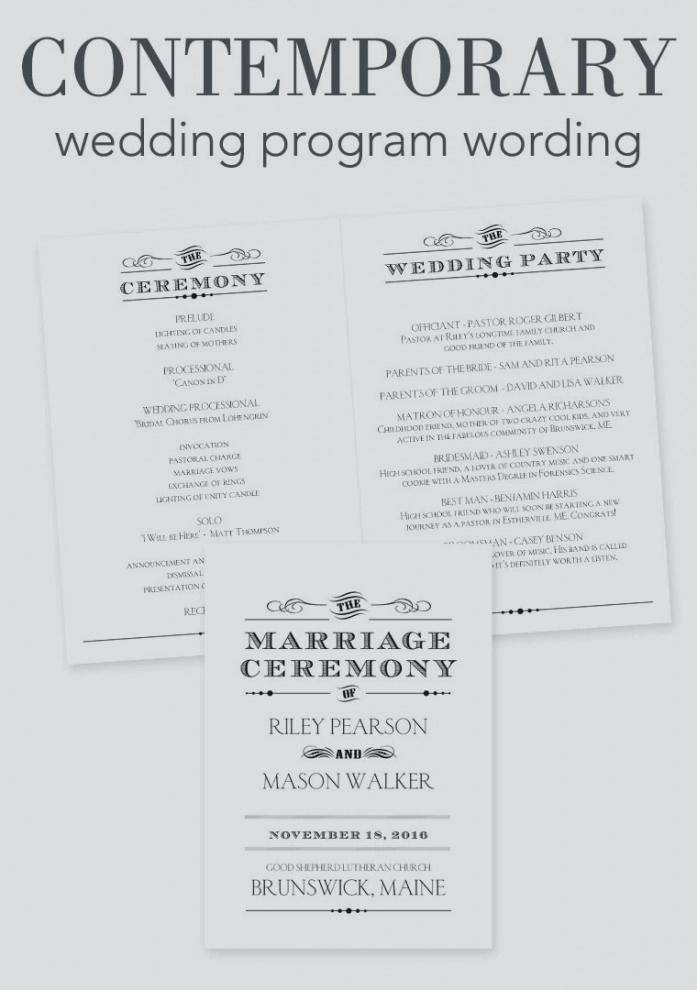 Modern Wedding Reception Program Sample