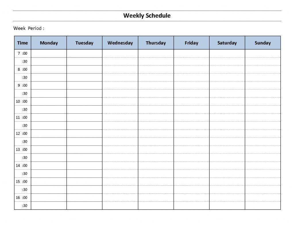 Monday Through Friday Calendar Template Excel