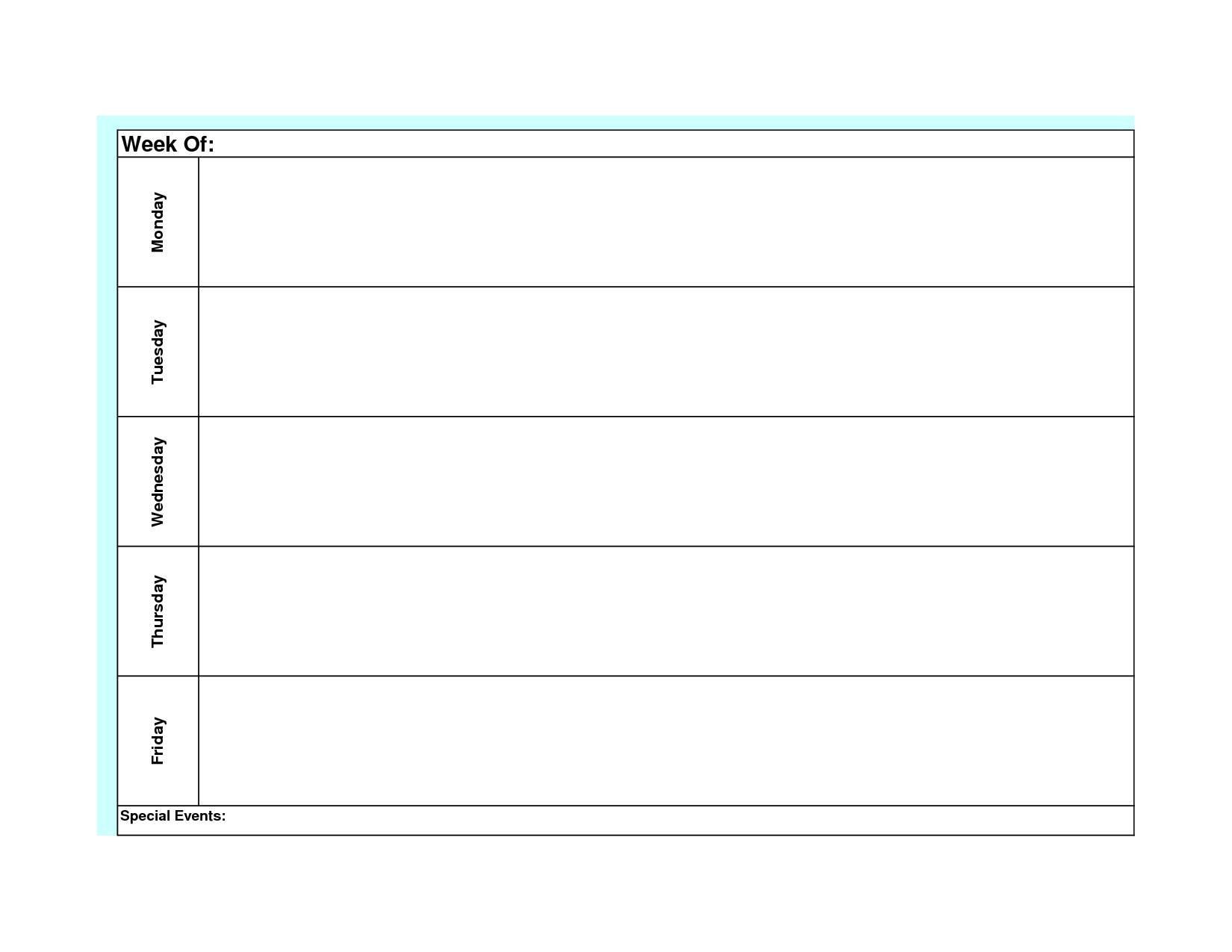Monday Through Friday Planner Template