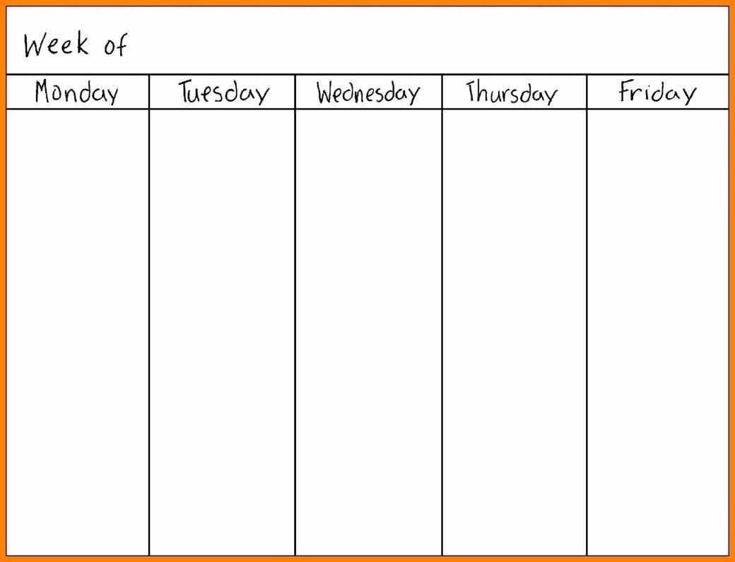 Monday Thru Friday Calendar Template