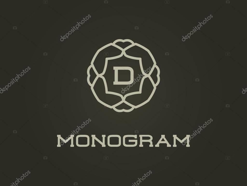 Monogram Letter D Template