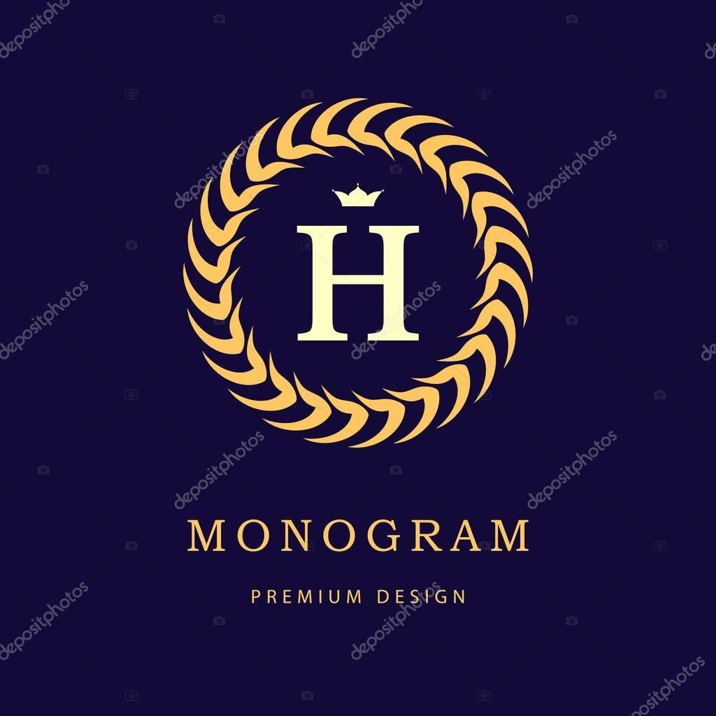Monogram Letter H Template