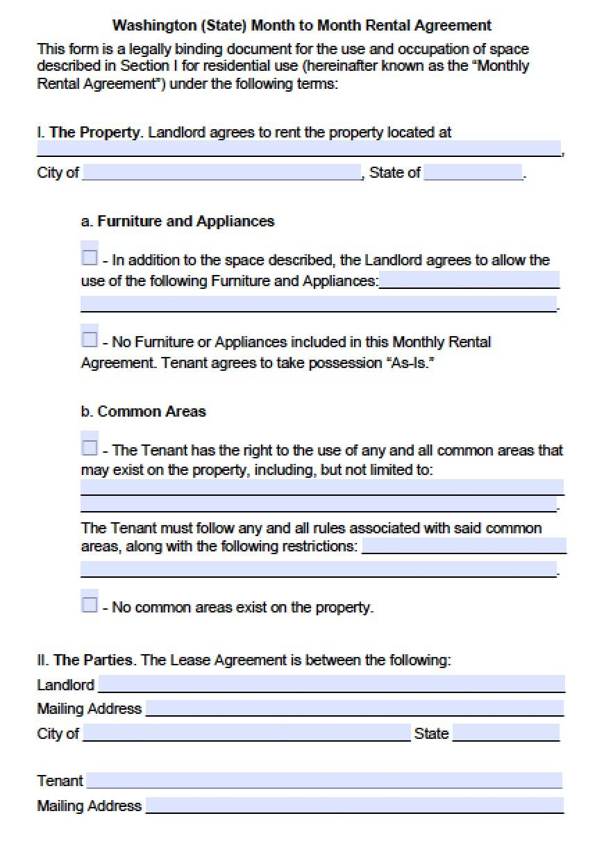 Month To Month Lease Template Wa
