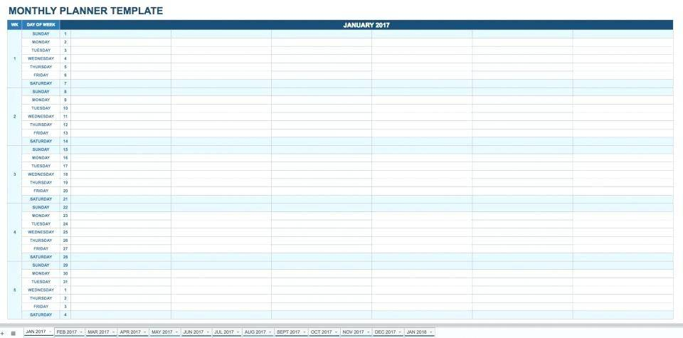 Monthly Agenda Template Excel