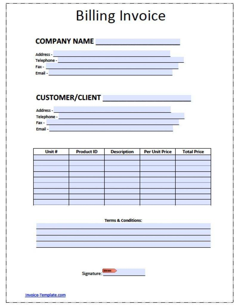 Monthly Billing Invoice Template