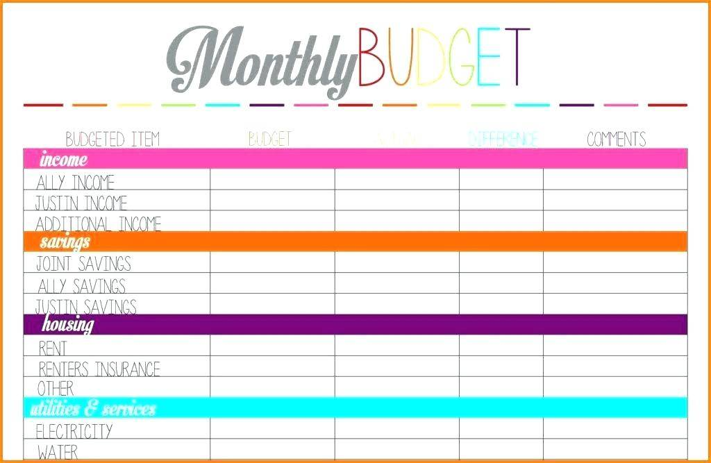 Monthly Budget Sheet Template Printable