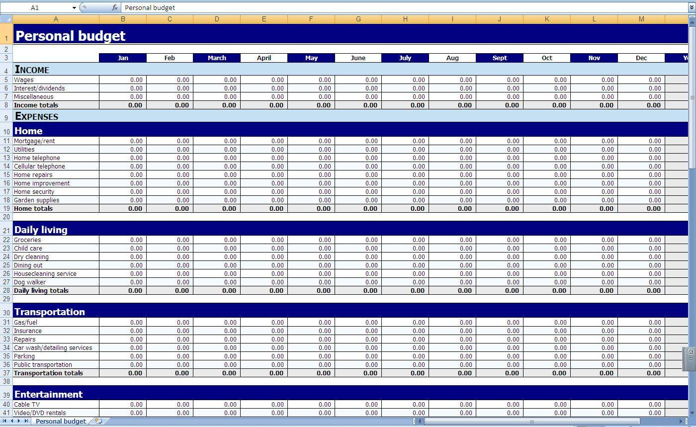Monthly Budget Templates Pdf