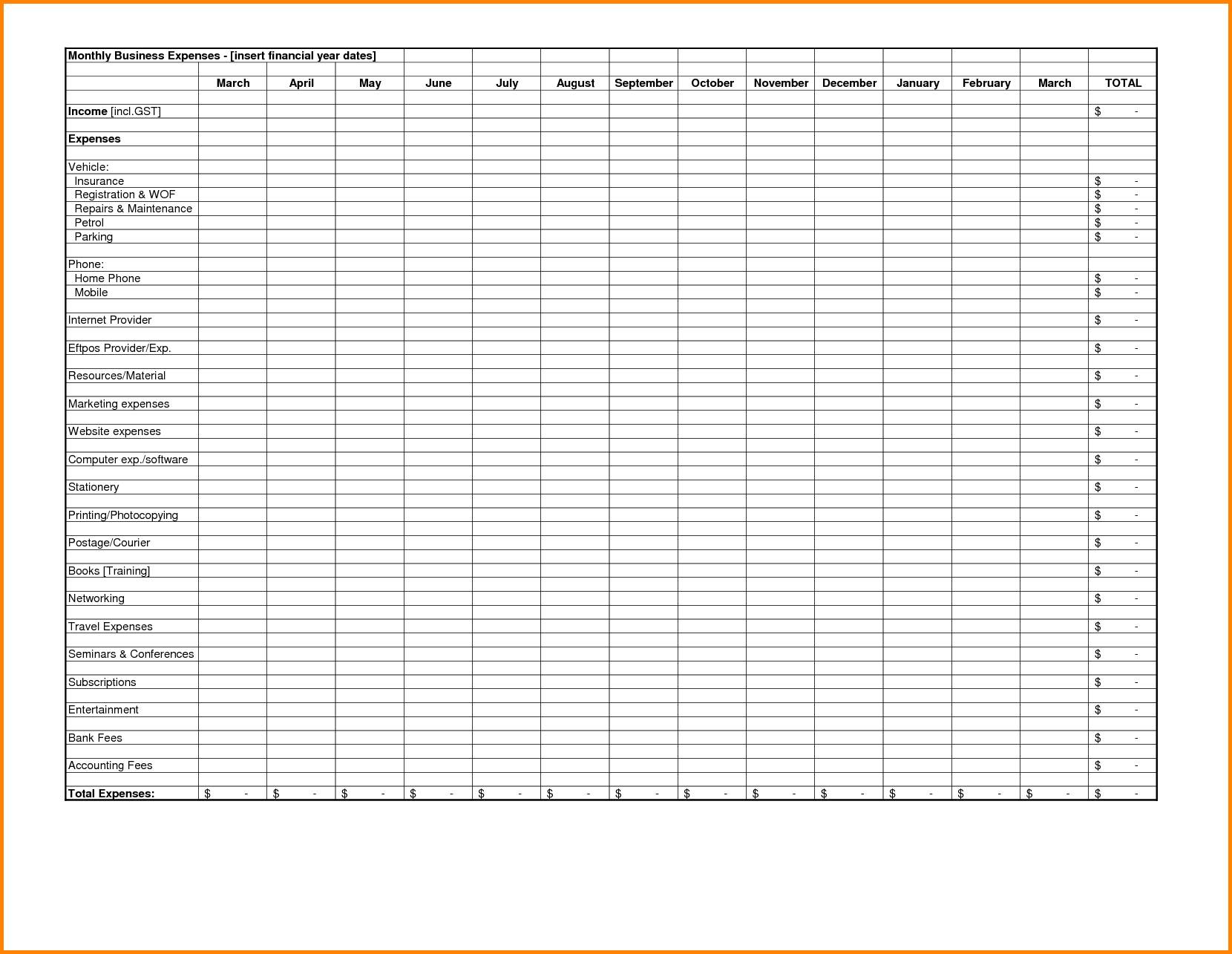 Monthly Budget Worksheet Template Excel