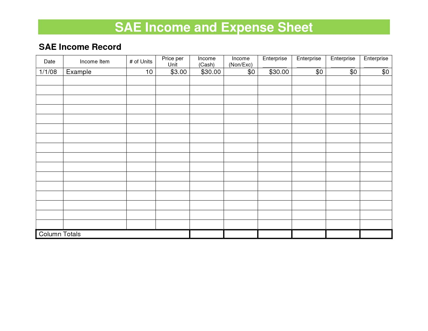 Monthly Business Income And Expense Template